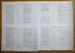 Gedruckter Text mit Notizen