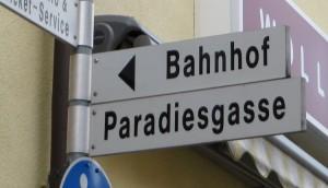 Straßenschild der Paradiesgasse in Villingen